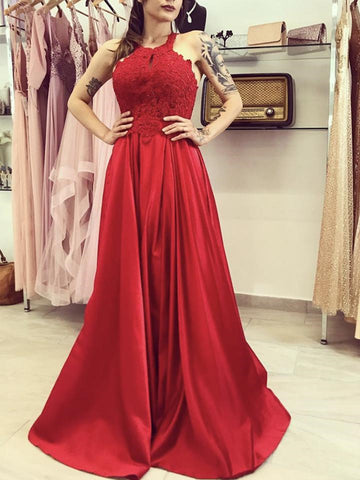 A Line Red Lace Long Prom Dresses, Long Red Lace Formal Graduation Evening Dresses