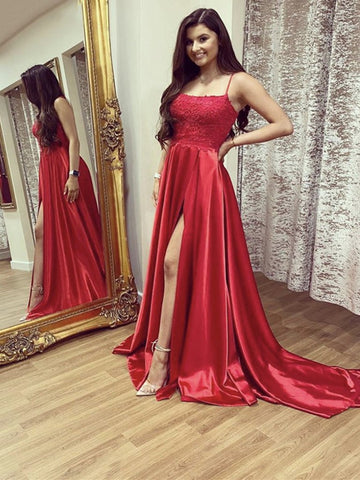 A Line Red Lace Long Prom Dresses with Leg Slit, Red Lace Formal Graduation Evening Dresses