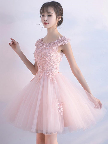 A Line Round Neck Short Pink Lace Prom Dresses, Pink Lace Formal Graduation Homecoming Dresses