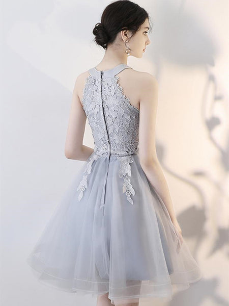 A Line Short Gray Lace Prom Dresses with Appliques, Gray Lace Formal Graduation Homecoming Dresses