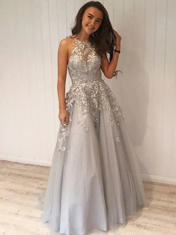 A Line Silver Grey Lace Long Prom Dresses, Silver Grey Lace Formal Graduation Evening Dresses