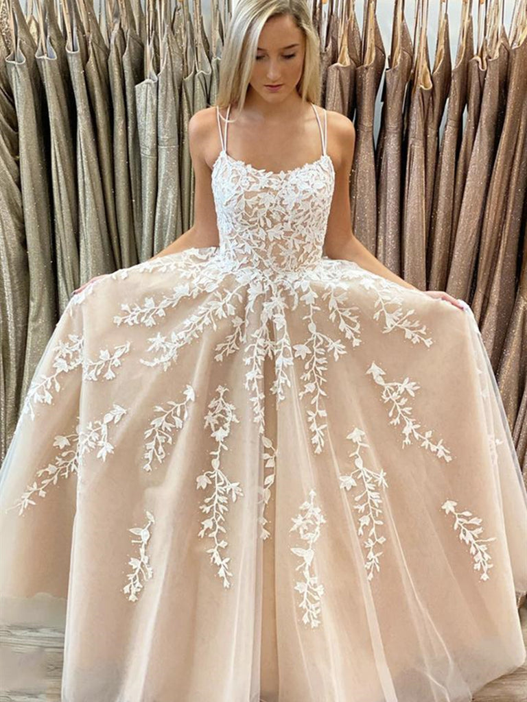 vA Line Spaghetti Straps Long Champagne Lace Prom Dresses, Champagne Lace Formal Graduation Evening Dresses