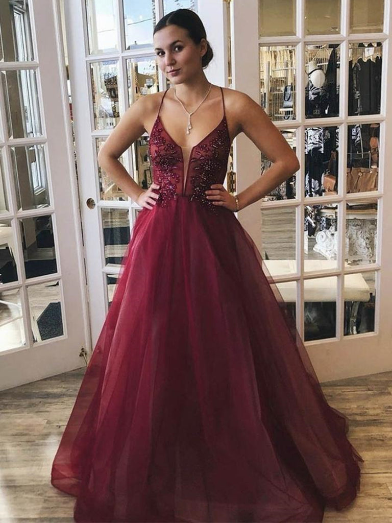 A Line Spaghetti Straps V Neck Beaded Burgundy Long Prom Dresses, V Neck Burgundy Formal Graduation Evening Dresses