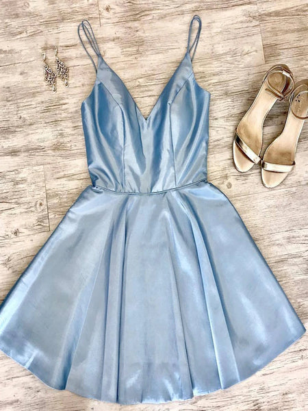 A Line Spaghetti Straps V Neck Short Light Blue Prom Homecoming Dresses, Light Blue Formal Graduation Evening Dresses
