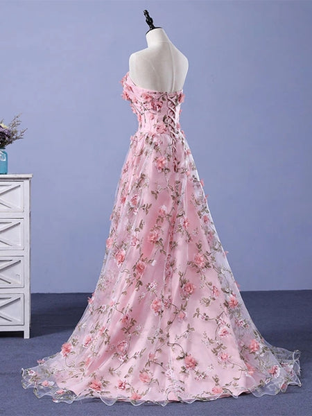 A Line Strapless Open Back 3D Flowers Pink Lace Prom Dresses, Pink Formal Graduation Evening Dresses with 3D Flowers