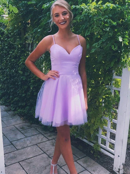 A Line Sweetheart Neck Short Purple Prom Dresses with Straps, Short Purple Formal Graduation Homecoming Dresses