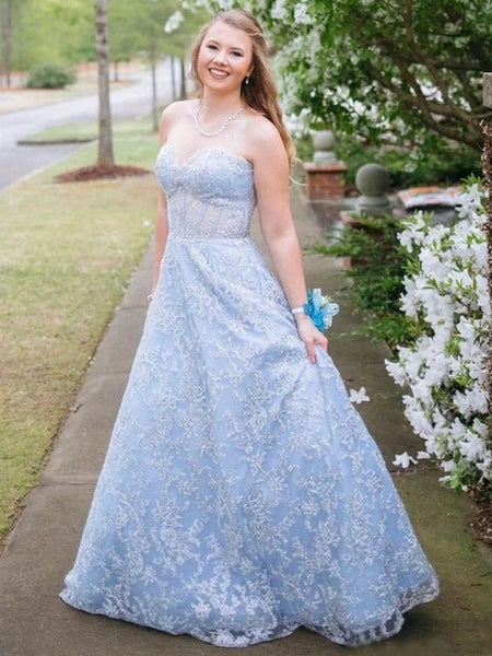 A Line Sweetheart Neck Strapless Light Blue Lace Long Prom Dresses, Light Blue Lace Formal Graduation Evening Dresses