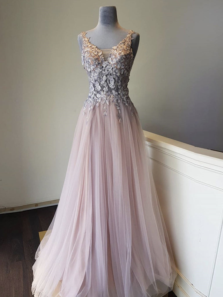 A Line V Neck Appliques Long Pink Lace Prom Dresses, Pink Lace Formal Graduation Evening Dresses