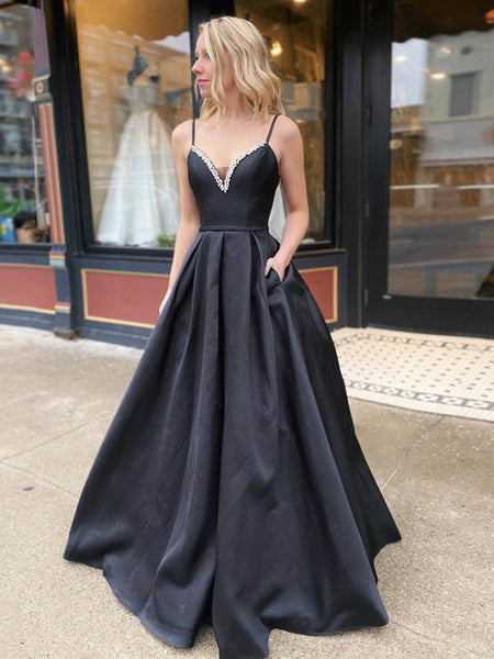 A Line V Neck Backless Black Long Prom Dresses with Beadings, Backless Black Formal Dresses, Black Evening Dresses