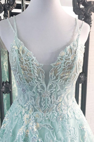 A Line V Neck Backless Blue Lace Long Prom Dresses, Backless Blue Formal Dresses, Blue Lace Evening Dresses