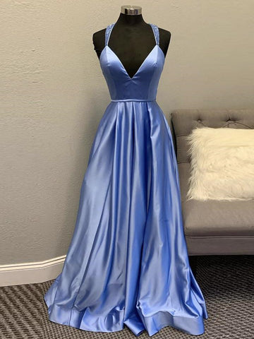 A Line V Neck Backless Blue Long Prom Dresses, Open Back Blue Formal Graduation Evening Dresses
