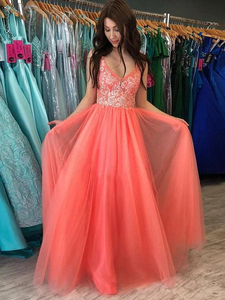 A Line V Neck Backless Coral Lace Long Prom Dresses, Backless Coral Lace Formal Dresses, Coral Lace Evening Dresses