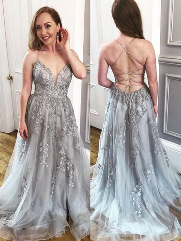 A Line V Neck Backless Gray Lace Long Prom Dresses, Grey Lace Formal Evening Dresses