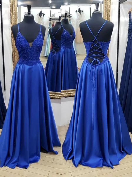 A Line V Neck Backless Long Blue Lace Prom Dresses, Backless Blue Lace Formal Graduation Evening Dresses