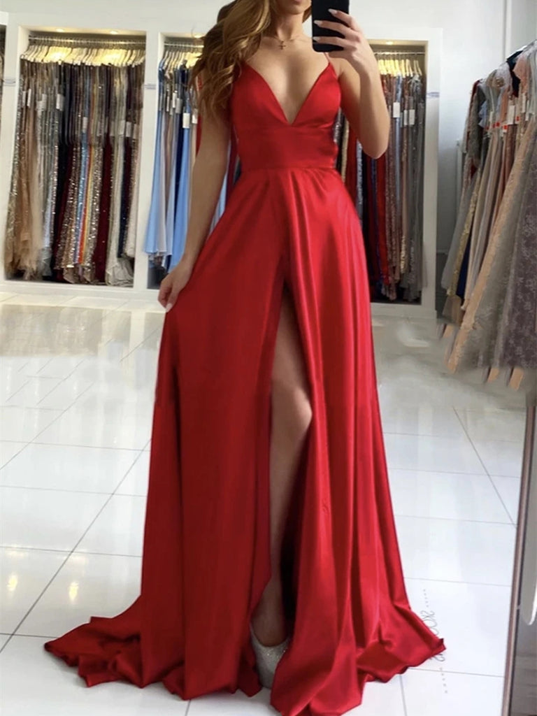 A Line V Neck Backless Long Red Prom Dresses with High Slit, Backless Red Formal Graduation Evening Dresses
