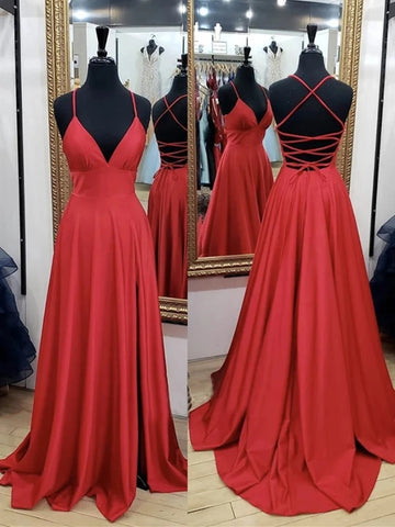 A Line V Neck Backless Red Long Prom Dresses, Backless Red Fromal Dresses, Red Evening Dresses