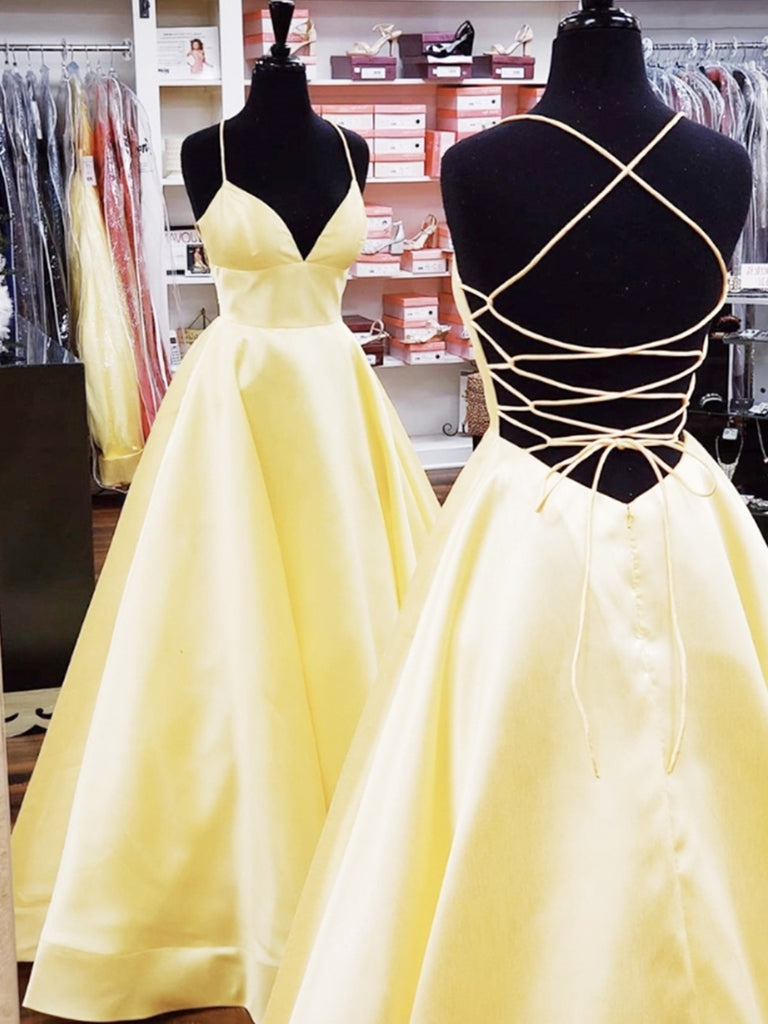 A Line V Neck Backless Yellow Long Prom Dresses with Cross Back, Backless Yellow Formal Graduation Evening Dresses