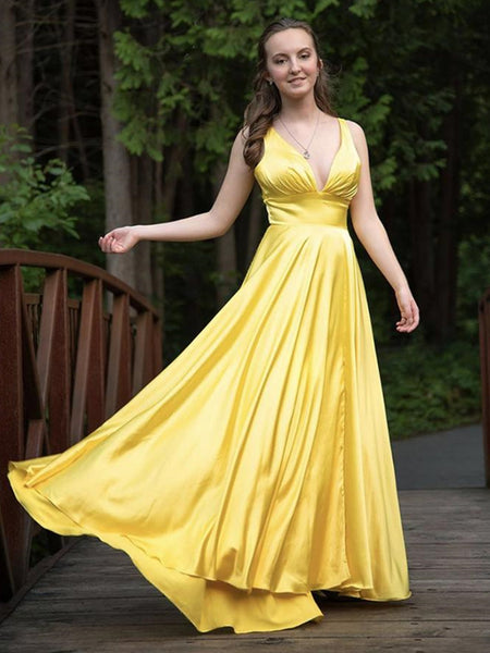 A Line V Neck Backless Yellow Satin Long Prom Dresses, Backless Yellow Formal Dresses, Yellow Evening Dresses
