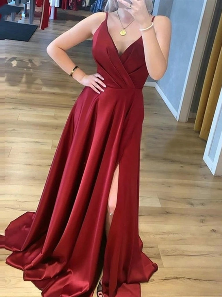 A Line V Neck Burgundy Long Prom Dresses with Leg Slit, V Neck Burgundy Formal Graduation Evening Dresses