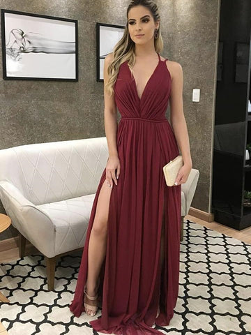 A Line V Neck Burgundy Long Prom Dresses with Slit, Maroon Formal Graduation Evening Dresses