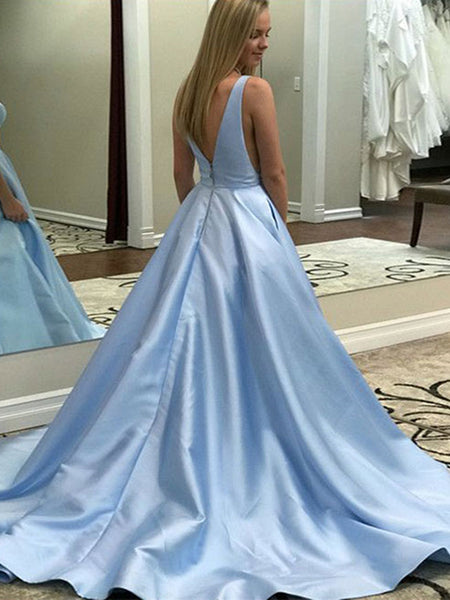 A Line V Neck Light Blue Satin Long Prom Dresses with Pocket, V Neck Light Blue Formal Graduation Evening Dresses