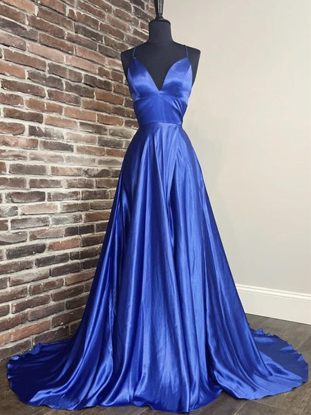 A Line V Neck Long Blue Prom Dresses, Blue Formal Graduation Evening Dresses