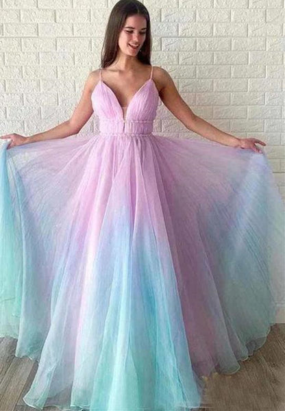 A Line V Neck Ombre Long Prom Dresses, Multi Color Ombre Long Formal Evening Dresses