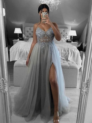 A Line V Neck Open Back Beaded Gray Long Prom Dresses, Backless Gray Formal Dresses, Gray Evening Dresses
