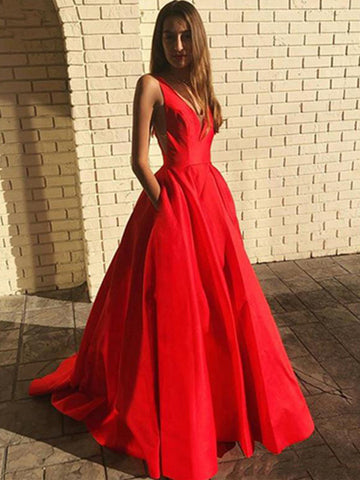 A Line V Neck Open Back Red Long Prom Dresses with Pocket, Backless Red Formal Graduation Evening Dresses