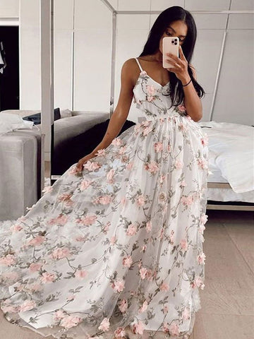 A Line V Neck Pink 3D Flowers White Long Prom Dresses, Pink 3D Flowers Formal Graduation Evening Dresses