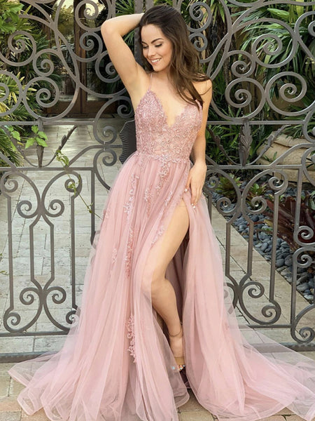 A Line V Neck Pink Lace Long Prom Dresses with High Slit, Pink Lace Formal Graduation Evening Dresses