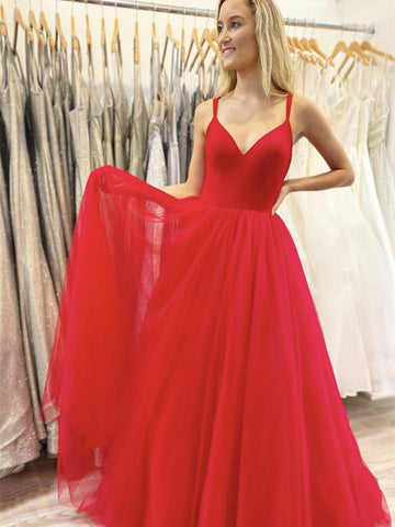 A Line V Neck Red Chiffon Long Prom Dresses, Red Long Formal Graduation Evening Dresses