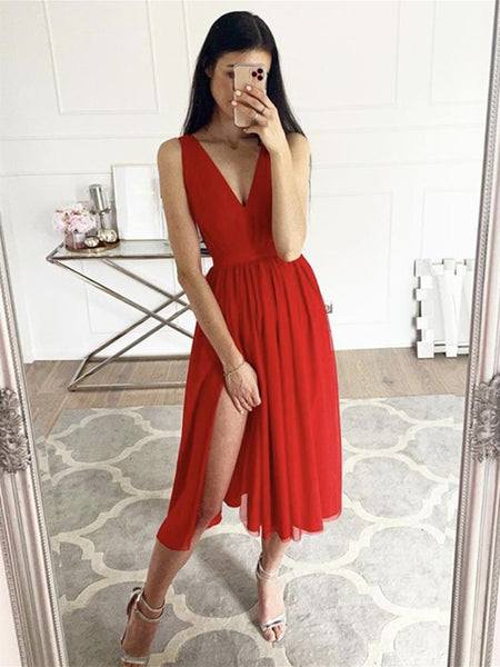 A Line V Neck Red Chiffon Tea Length Prom Dresses with Slit, Red Formal Graduation Homecoming Dresses