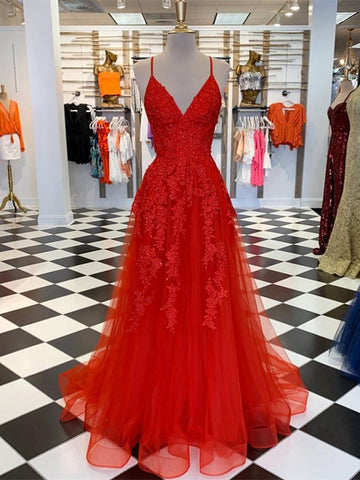 A Line V Neck Red Lace Long Prom Dresses, V Neck Red Formal Dresses, Red Lace Evening Dresses