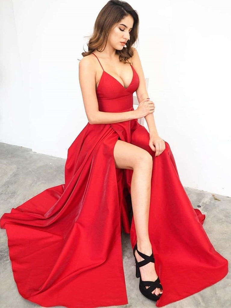 A Line V Neck Red Long Prom Dresses with High Slit, V Neck Red Formal Graduation Evening Dresses