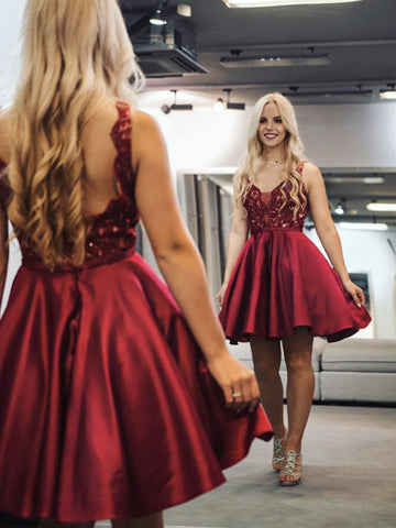 A Line V Neck Short Burgundy Lace Prom Dresses, V Neck Burgundy Lace Formal Graduation Homecoming Dresses
