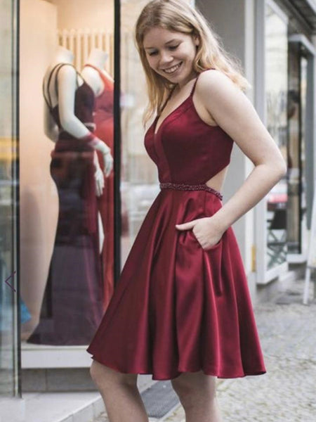 A Line V Neck Short Burgundy Prom Dresses with Pocket, Short Burgundy Formal Graduation Homecoming Dresses, Burgundy Cocktail Dresses