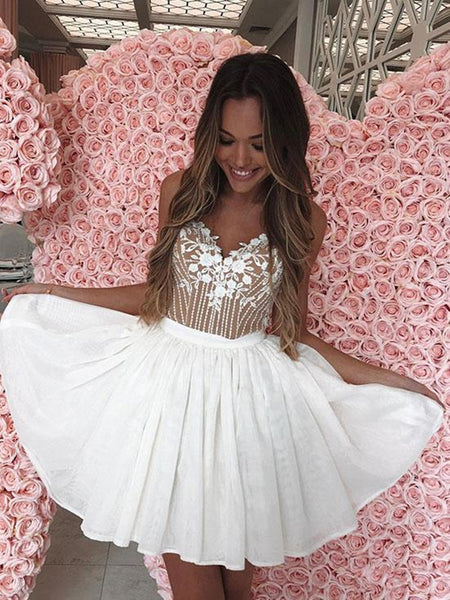A Line V Neck Short White Lace Prom Dresses with Straps, White Lace Formal Graduation Evening Dresses