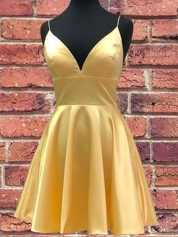 A Line V Neck Short Yellow Prom Dresses, Short V Neck Yellow Formal Homecoming Dresses