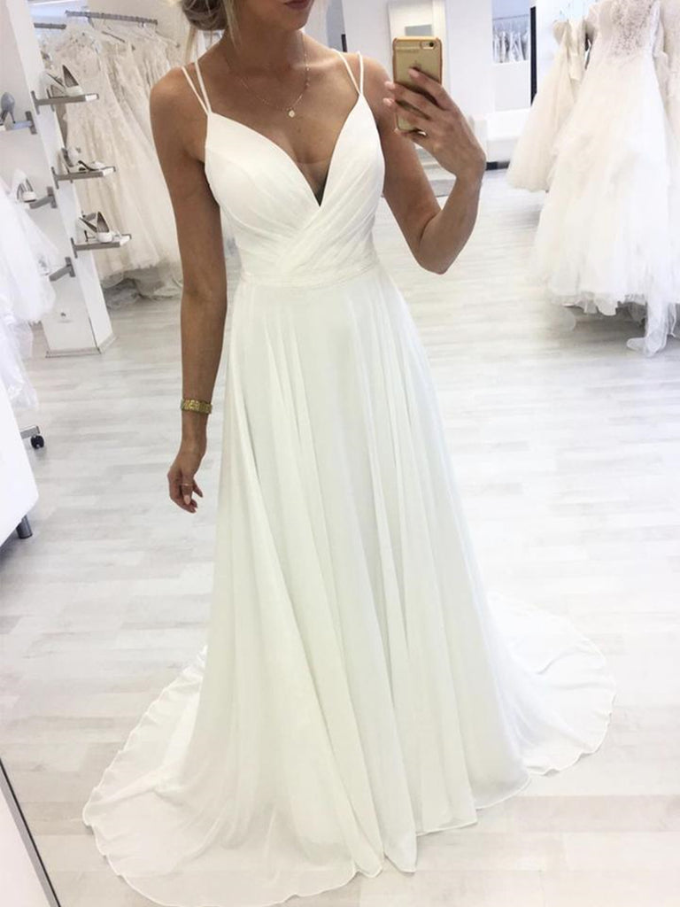 A Line V Neck White Chiffon Long Prom Dresses with Straps, V Neck White Formal Graduation Evening Dresses