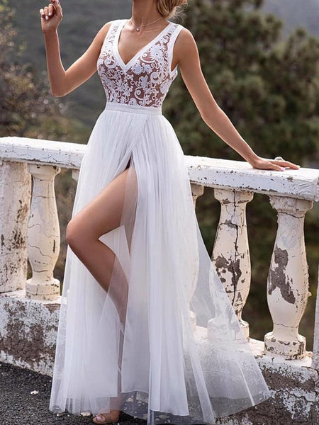 A Line V Neck White Lace Long Prom Dresses with Slit, White Lace Long Formal Graduation Evening Dresses