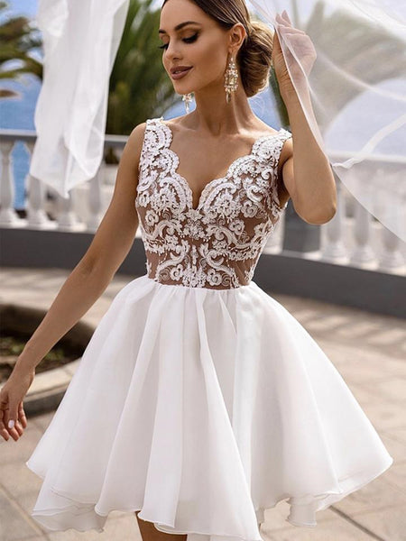 A Line V Neck White Lace Short Prom Dresses, White Lace Formal Graduation Homecoming Dresses