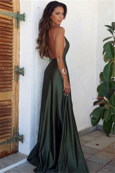 A Line Backless Dark Green Prom Dress, Backless Green Formal Dress, Backless Green Graduation Dress