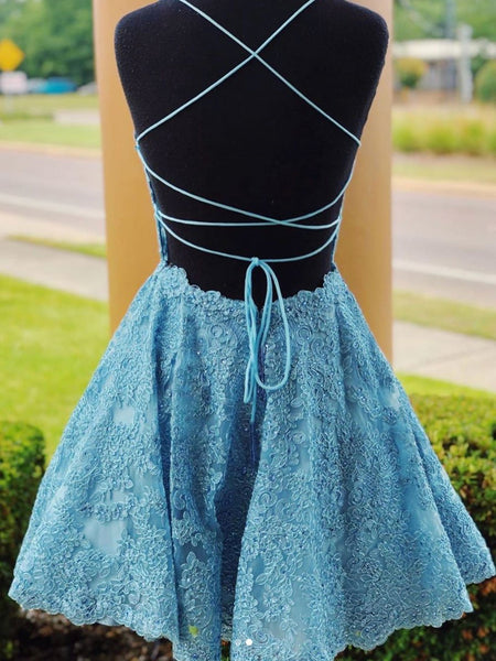 A Line Backless Lace Blue Short Prom Dresses Homecoming Dresses, Backless Blue Lace Formal Graduation Evening Dresses