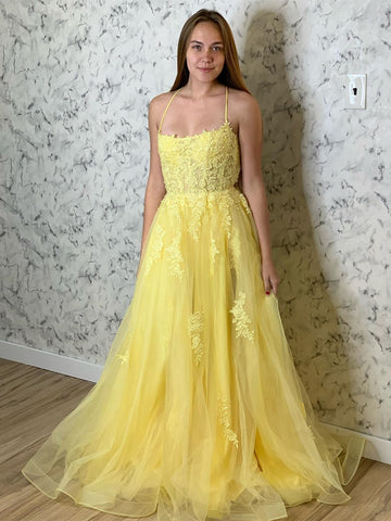 A Line Backless Tulle Long Lace Appliques Yellow Prom Dresses, Backless Yellow Lace Formal Dresses, Lace Yellow Evening Dresses