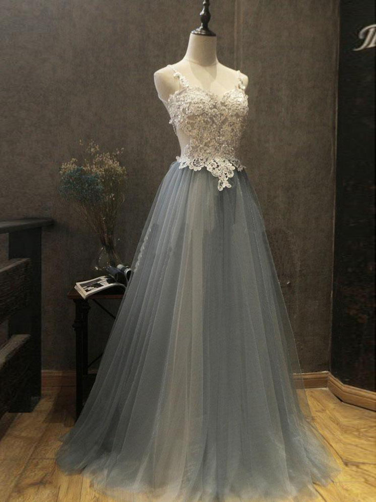 A Line Backless White Lace Beading Gray Tulle Long Prom Dresses, Lace Gray Formal Dresses, Backless Gray Long Evening Dresses