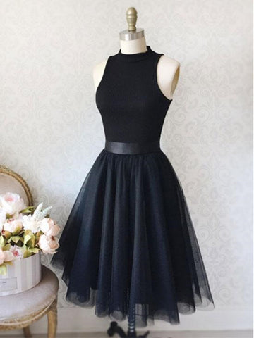 A Line Black Short Prom Dresses, Black Homecoming Dresses, Evening Dresses