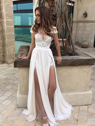 A Line Cap Sleeves Lace White Wedding Dresses with High Slits, White Lace Prom Dresses, Formal Dresses