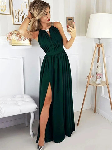 A Line Dark Green Long Prom Dresses with Slit, Cheap Dark Green Evening Dresses, Simple Dark Green Formal Dresses