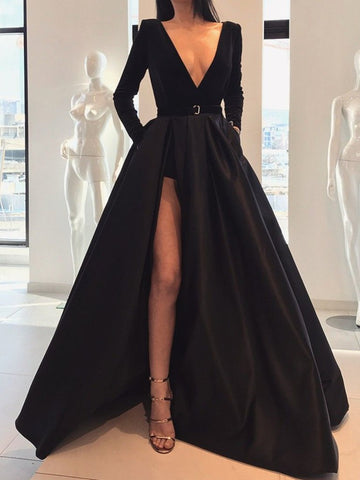 A Line Deep V Neck Black/Burgundy Long Sleeves Satin Prom Dresses With Leg Slit, Black/Burgundy Formal Dresses, Graduation Dresses, Evening Dresses